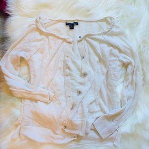 American Eagle White Sparkly Button Cardigan